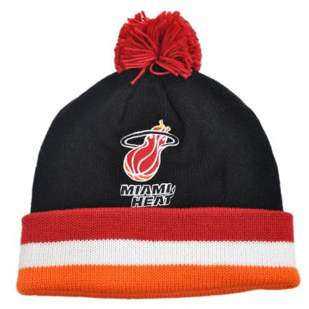 Mitchell & Ness Miami Heat NBA Cuffed Knit Beanie w/ Pom