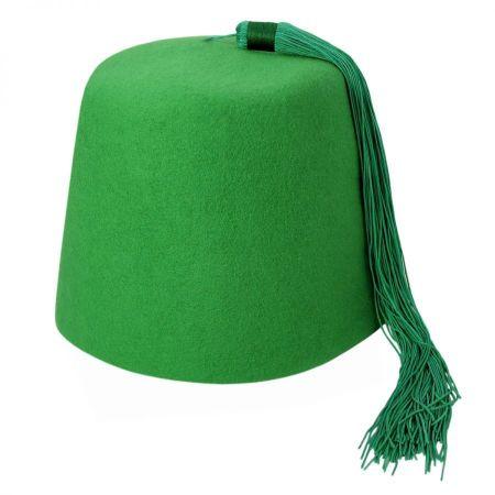 Village Hat Shop Green Wool Fez with Green Tassel