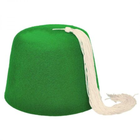 Village Hat Shop Green Fez with White Tassel