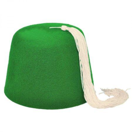Village Hat Shop Green Wool Fez with White Tassel
