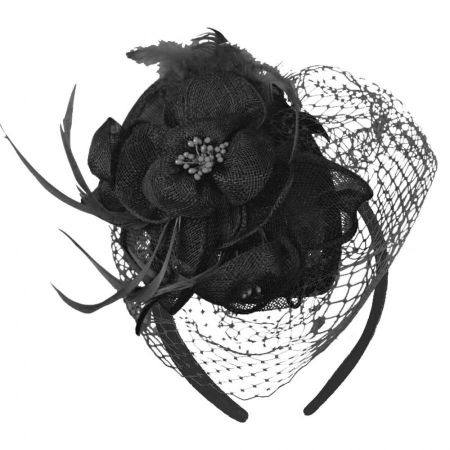 Flower and Veil Straw Fascinator Headband alternate view 4