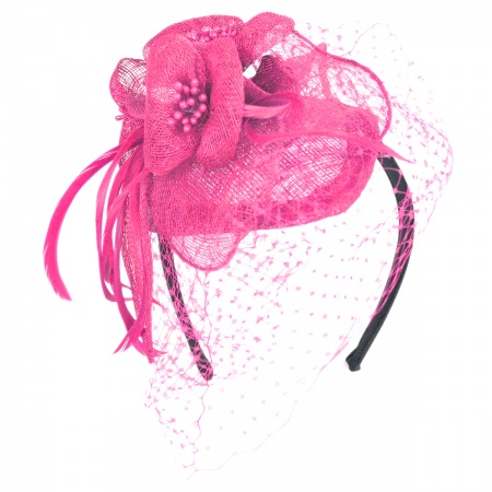 Flower and Veil Straw Fascinator Headband alternate view 6