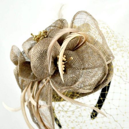 Flower and Veil Straw Fascinator Headband alternate view 10