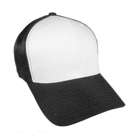 Flexfit White Front Trucker Fitted FlexFit Baseball Cap