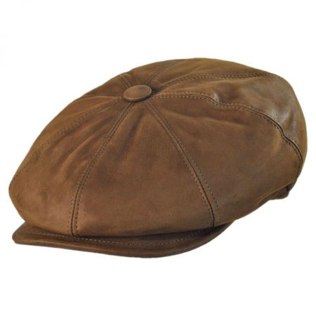 Jaxon Hats - Made in Italy Leather Newsboy Cap