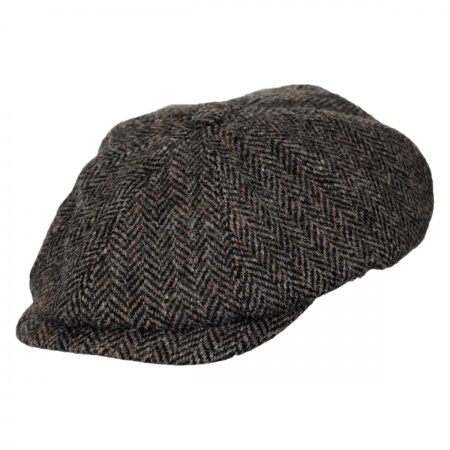 Hills Hats of New Zealand Harris Tweed Herringbone Newsboy Cap