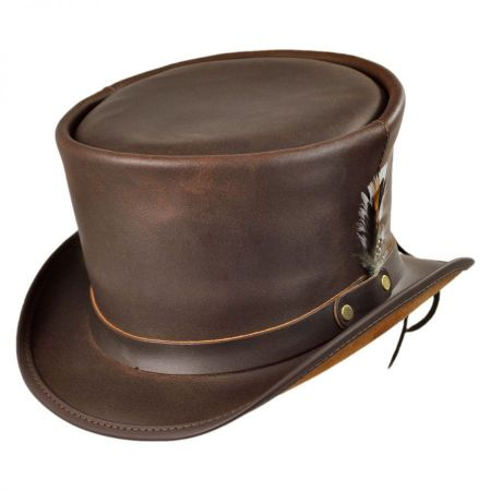 Head 'N Home Coachman Brown Leather Top Hat