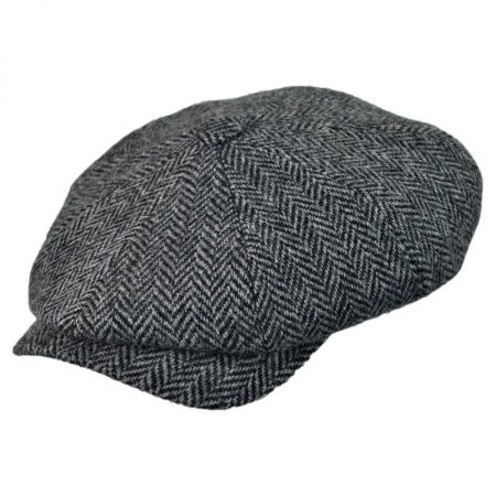 Wigens Caps Herringbone Harris Tweed Wool Newsboy Cap