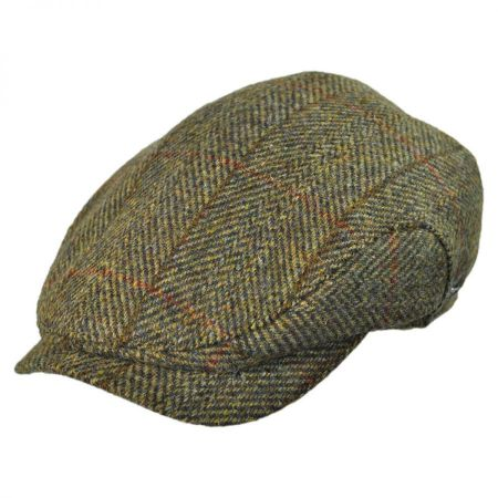 Wigens Caps Harris Tweed Herringbone Check Ivy Cap with Earflaps