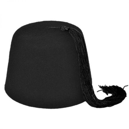 Village Hat Shop Black Wool Fez with Black Tassel