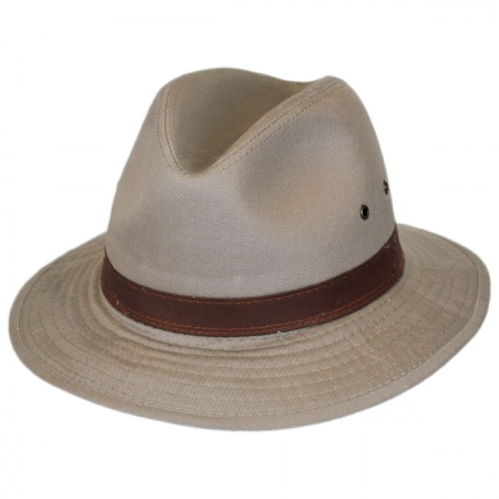 Dorfman Pacific Packable Washed Twill Safari Fedora Hat