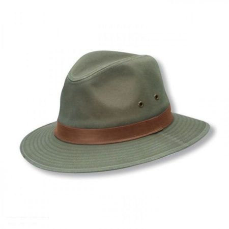 Scala Packable Washed Twill Safari Fedora Hat
