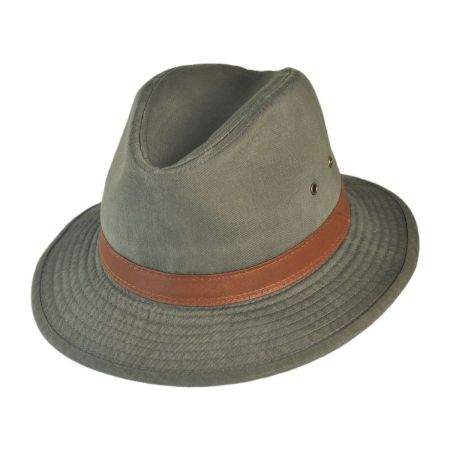 Packable Cotton Twill Safari Fedora Hat alternate view 13