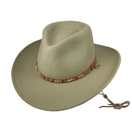 unisex cowboy hat Tan flat brim crushable cowboy hat Aussie style bush hat western wear Leather cowboy hat with braided hat band