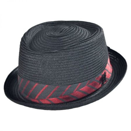 Stacy Adams Pork Pie-Stripe Band Hat