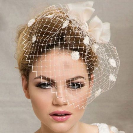 Arturo Rios Collection Bow and Pom Veil Comb Fascinator Hat