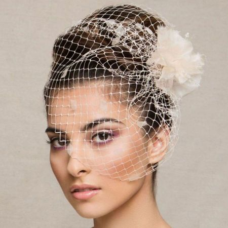 Arturo Rios Collection Flower and Veil Comb Fascinator