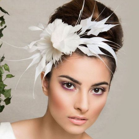 Arturo Rios Collection Feather and Flower Headband Bridal 11