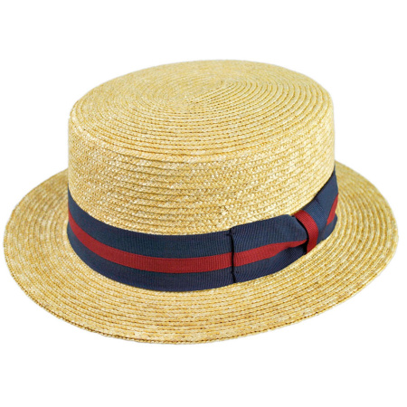 B2B Jaxon Striped Band Wheat Straw Skimmer Hat
