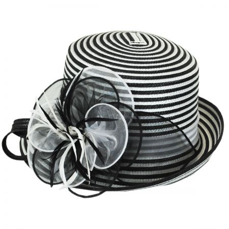 Swan Black and White Striped Cloche Hat