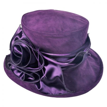 Swan Raisin Velvet Boater Hat
