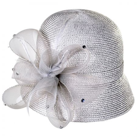 Swan Metallic Braid Cloche Hat