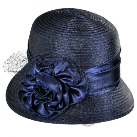 Swan Rose and Netting Cloche Hat