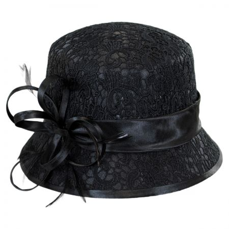 Swan Embossed Lace Cloche Hat