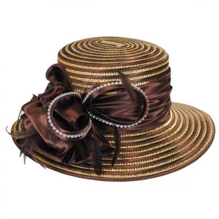 Swan Cocoa Satin Metallic Dress Hat