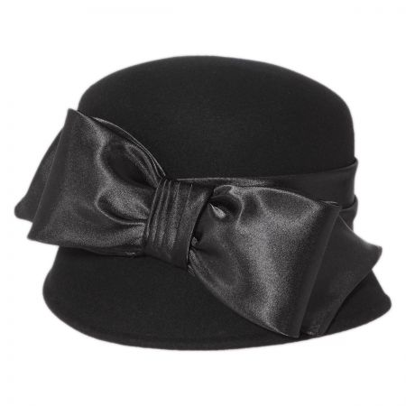 Satin Bow Cloche Hat