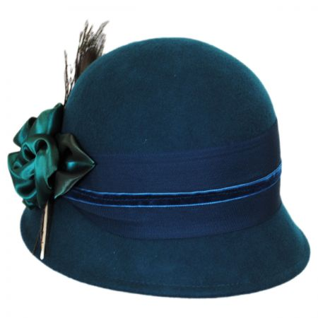 Peacock Rose Wool Cloche Hat