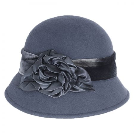 Silk Swirl Rose Wool Cloche Hat