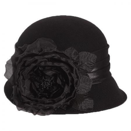 Side Rose Wool Cloche Hat