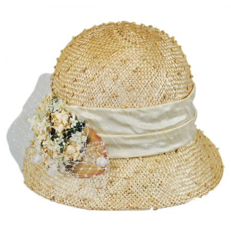 Toucan Veiled Rosette Straw Cloche Hat