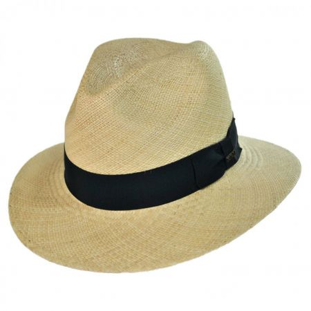 Scala Panama Straw Safari Fedora Hat