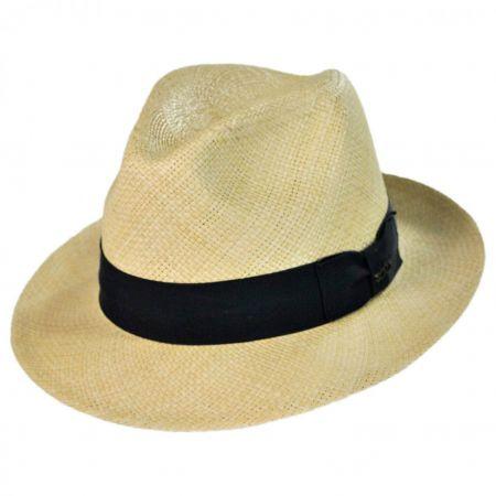 Scala Panama Straw Snap Brim Fedora Hat