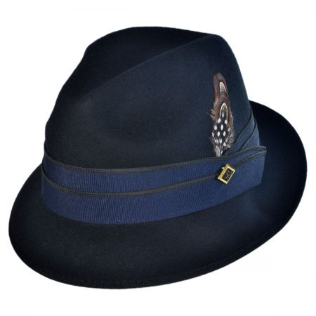 Stacy Adams Two Pleat Ribbon Band Fedora Hat