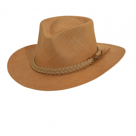 Scala Braided Band Panama Straw Outback Hat