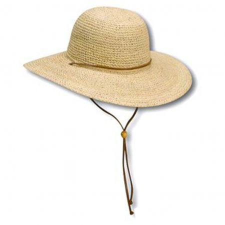 Crocheted Raffia Straw Floppy Hat with Chinstrap