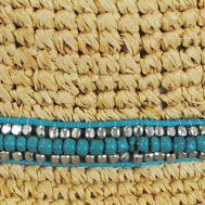 SIZE: ONE SIZE FITS MOST - Natural/Turquoise